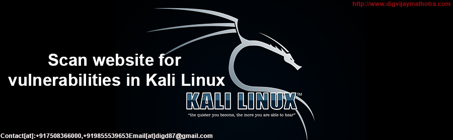 Scan website for vulnerabilities in Kali Linux-@+917508366000